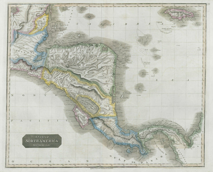 """""""Spanish North America, southern part"""" by John Thomson. Central America 1830 map"""