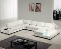 *NEW! Leather Sectional with Light on the Chaise, FREE Delivery!