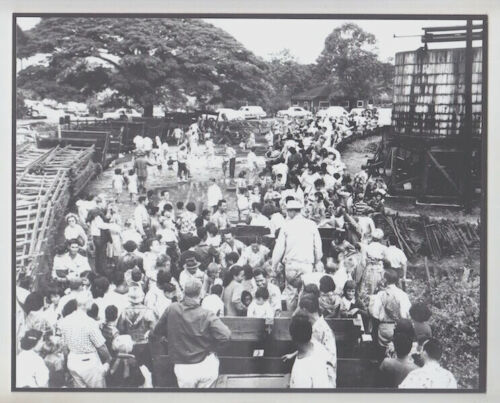 """LAST TRAIN RIDE"" WAIALUA SUGAR COMPANY  SILVER HALIDE PHOTO ON 8X10"" MAT"