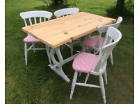 Farmhouse pine scrub top table with soft pink dotty fabric chairs