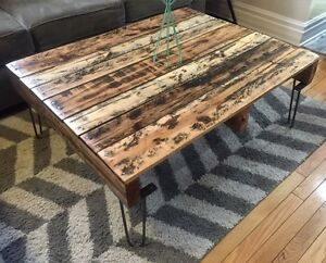 Rustic Recycled/Reclaimed Solid Oak Coffee Table - Hairpin Legs