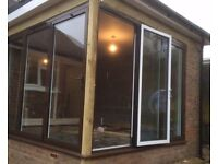 NEW 3 Door Bi Folding Door Duel Colour Black Outside White Inside Unglazed
