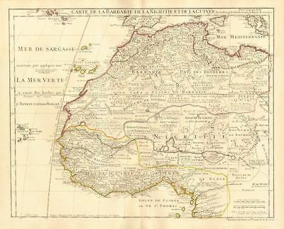 'La Barbarie de la Nigritie et de la Guinée'. West Africa. DE L'ISLE 1745 map