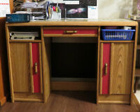 2 free coffee tables and desktop----very good condition