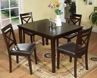 LORD SELKIRK FURNITURE - 5PK - DINING TABLE & 4 CHAIRS -ESPRESSO