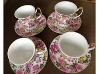 4 x Vintage Style Teacups and Saucers New