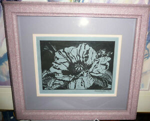 "Listed, Maryanne Wettlaufer ""Wildflower"" Original Woodcut 1995"