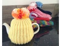 Hand knitted POM POM TEA COSY teacosy YELLOW Easter Mother's Day nan nanny gran gift knit 5