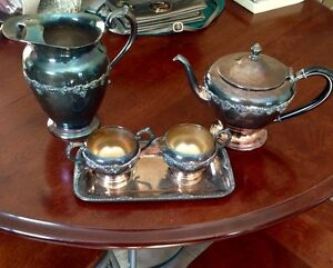 Wm A Rogers silver tea set and pitcher and serving  tray