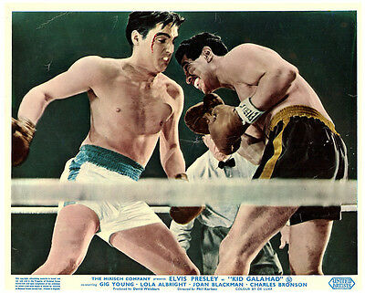 KID GALAHAD ORIGINAL LOBBY CARD ELVIS PRESLEY BARECHESTED BOXING MATCH