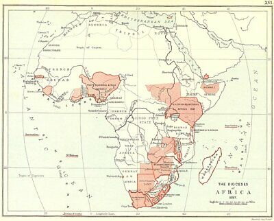 AFRICAN ANGLICAN CHURCH DIOCESES. South Africa Nigeria Kenya Zimbabwe 1897 map