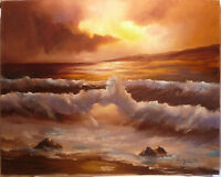Large Seascape Oil on Canvas Painting $200