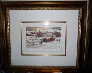 """Walter Campbell """"Country Homestead"""" Country Winter Scene"""