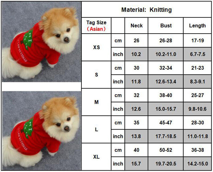 Christmas Pet Vest Dog Puppy Hoodie Sweater Jacket Cute Outfit Clothes Costume 8