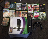 Xbox 360 4GB with Kinect and Steering Wheel (with 15 Games)