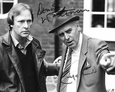George Cole & Dennis Waterman Autograph Signed Glossy 10x8 Photo Preprint Minder