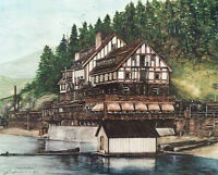Original Lithograph Print by Gayle Volker. CPR Hotel Sicamous.