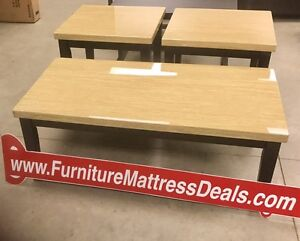New three piece set, one coffee and two end tables only$350