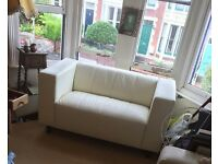 White Leather 2-Seater Sofa (almost new)