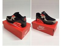 Nike Air Max Trainers Black And Grey And Orange With Black Nike Tick