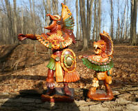 SET OF HAND MADE AZTEC CHIEF + SON WARRIOR FIGURES FROM MEXICO