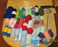 yarn, knitting needles, crochet hooks