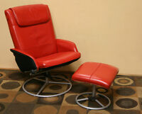 Excellent Red LEather Euro Recliner & Ottoman SEE VIDEO
