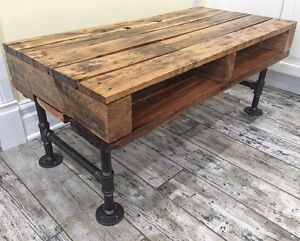 Reclaimed & Recycled Wood Coffee Table with Iron Pipe Legs