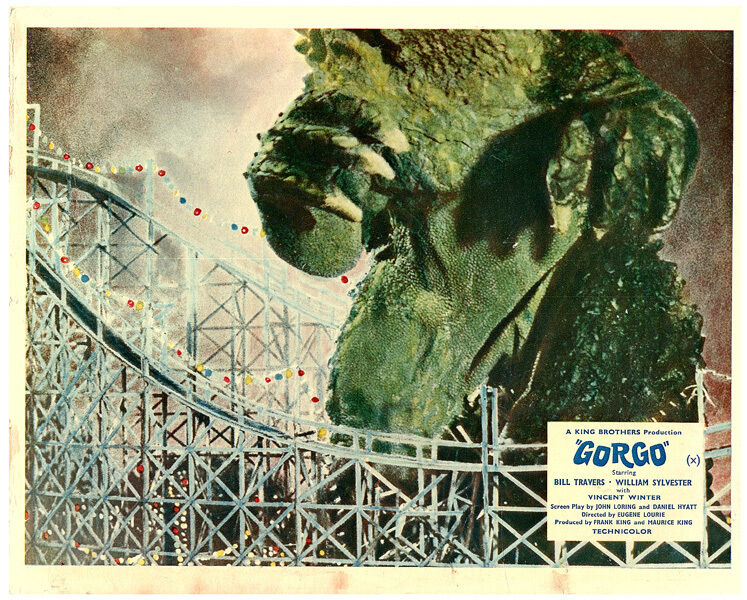 GORGO ORIGINAL BRITISH LOBBY CARD FRONT OF HOUSE GIANT LIZZARD ROLLERCOASTER