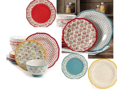 Retro Floral Dot Dinnerware Set of 36 Teal Serves 12 Dining Dishes Plates Bowls - Retro Dinnerware Sets