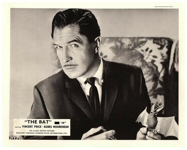 The Bat Original Lobby Card Vincent Price Holding Bat Syringe Cult Horror Film
