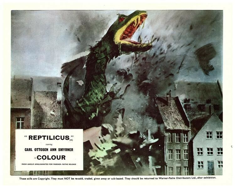 Reptilicus Original Lobby Card Monster Destroys City Danish Sci Fi Cult Film