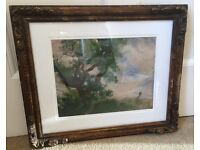 Oil painting by listed artist in ornate frame