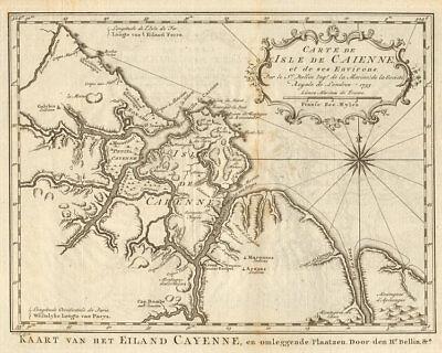 'Carte de I'Isle de Caienne'. Cayenne, French Guiana. BELLIN/SCHLEY 1757 map
