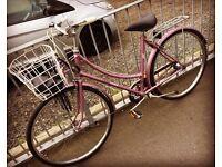 Raleigh pink classic bike Dutch style