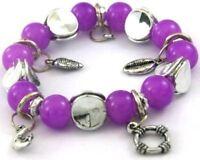 Purple Glass Beads Silver Dangle Stretch Bracelet--NEW!!