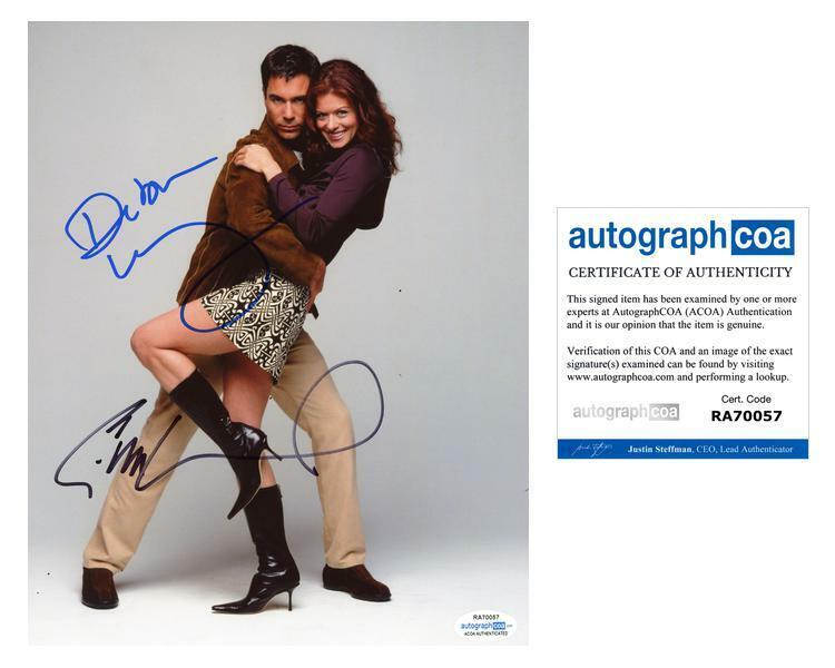 "Debra Messing & Eric McCormack ""Will & Grace"" AUTOGRAPHS Signed 8x10 Photo ACOA"