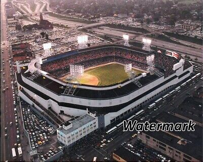 MLB 1990's Detroit Tigers Aerial View Tiger Stadium at Dusk Color 8 X 10 Photo