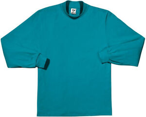 Mens Teal Heavyweight Long Sleeve Mock Turtleneck T-shirt XXL Extra-Extra Large