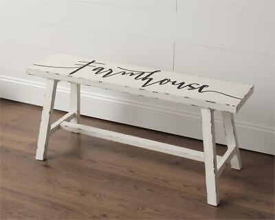 New Primitive Rustic White Black FARMHOUSE BENCH Wood Stool  Rustic Wood Benches