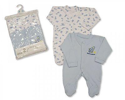 Weiß 3 Stück Anzug (Baby Schlafanzug 2 Stück Set blau Baumwolle für kleine Astronauten Rakete NB 0-3)