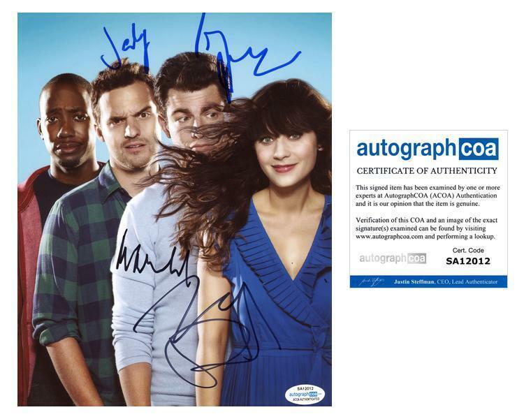 """New Girl"" Cast AUTOGRAPHS Signed 8x10 Photo - Zooey Deschanel +3 ACOA"