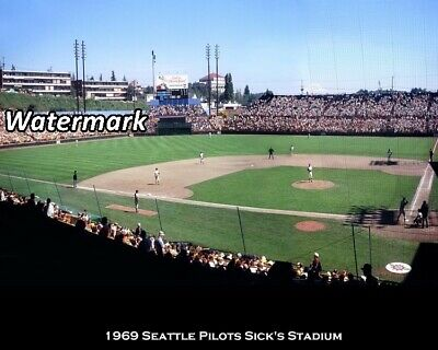 - MLB 1969 Seattle Pilots Sick's Stadium Game Action Color 8 X 10 Photo Picture