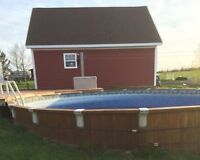 Cedar 25' pool with heat pump and sand filter and pump