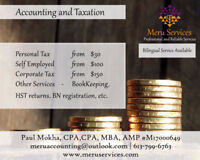 Accounting & Taxation (T1: $30, Self-Employed $100, T2- $150