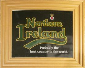 Northern Ireland Football Mirror. Engraved and Painted