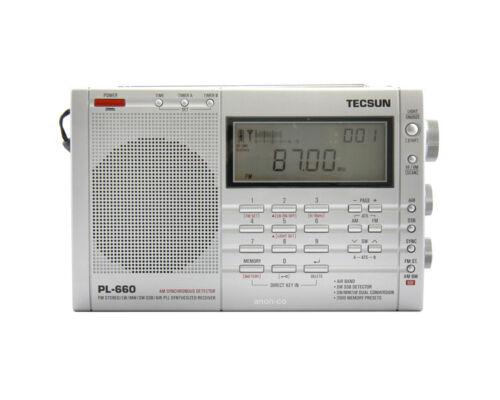Tecsun PL660 AM FM SW Air SSB Synchronous Shortwave Radio - Silver