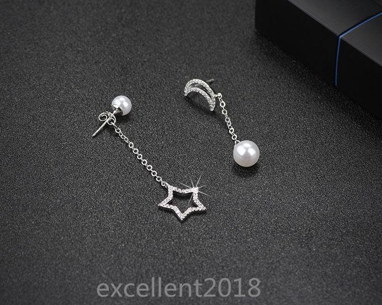 women 925 sterling silver cute moon star