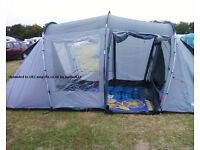 Halfords 4 man tent with 4 single blow up beds and pump.