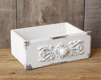 White Wood Caddy - New Shabby French Chic White Antique Style Drawer Tool Box Wood Caddy Basket
